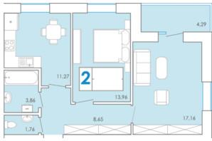 ЖК Срібні Озера Комфорт: планування 2-кімнатної квартири 60.96 м²