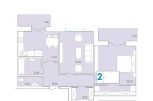 ЖК Срібні Озера Комфорт: планування 2-кімнатної квартири 73.19 м²