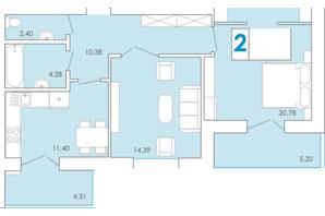 ЖК Срібні Озера Комфорт: планування 2-кімнатної квартири 69.78 м²