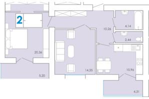 ЖК Срібні Озера Комфорт: планування 2-кімнатної квартири 68.89 м²