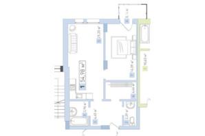 ЖК Срібний дім Бізнес: планування 1-кімнатної квартири 54.98 м²