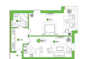 ЖК Срібний дім Бізнес: планування 2-кімнатної квартири 70.06 м²