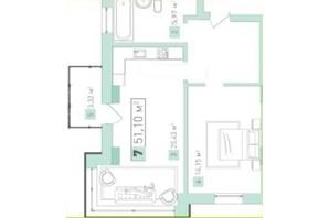 ЖК Срібний дім Бізнес: планування 1-кімнатної квартири 54.96 м²