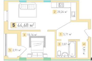 ЖК Срібний дім Бізнес: планування 1-кімнатної квартири 44 м²
