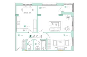 ЖК Срібний дім Комфорт: планування 2-кімнатної квартири 67.15 м²