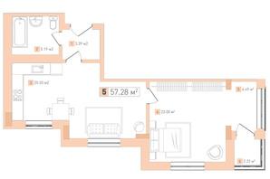 ЖК Срібний дім Комфорт: планування 1-кімнатної квартири 57.28 м²