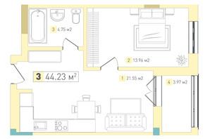 ЖК Срібний дім Комфорт: планування 1-кімнатної квартири 44.23 м²