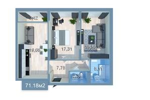ЖК Star City: планировка 2-комнатной квартиры 71.18 м²