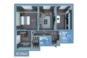 ЖК Star City: планировка 3-комнатной квартиры 81.69 м²