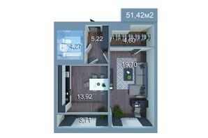 ЖК Star City: планировка 1-комнатной квартиры 51.42 м²