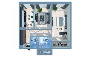 ЖК Star City: планировка 2-комнатной квартиры 64.98 м²