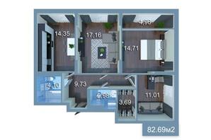 ЖК Star City: планировка 3-комнатной квартиры 91.76 м²