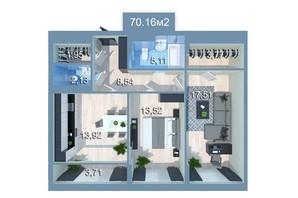 ЖК Star City: планировка 2-комнатной квартиры 73.88 м²