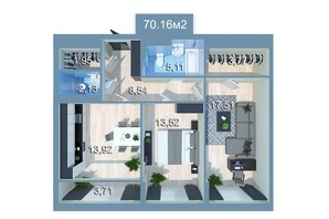 ЖК Star City: планировка 2-комнатной квартиры 71.72 м²