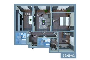 ЖК Star City: планировка 3-комнатной квартиры 91.38 м²
