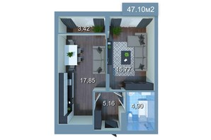 ЖК Star City: планировка 1-комнатной квартиры 47.38 м²
