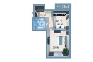 ЖК Star City: планировка 1-комнатной квартиры 44.53 м²