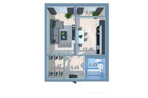 ЖК Star City: планировка 1-комнатной квартиры 41.88 м²