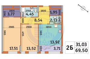 ЖК Star City: планировка 2-комнатной квартиры 69.5 м²