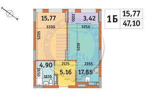 ЖК Star City: планировка 1-комнатной квартиры 47.1 м²