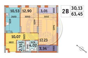 ЖК Star City: планировка 2-комнатной квартиры 63.45 м²