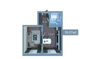 ЖК Star City: планування 1-кімнатної квартири 39.07 м²