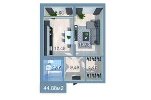 ЖК Star City: планування 1-кімнатної квартири 44.92 м²