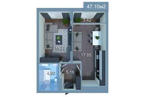 ЖК Star City: планування 1-кімнатної квартири 47.54 м²