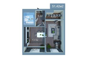 ЖК Star City: планування 1-кімнатної квартири 51.61 м²
