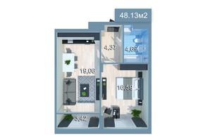 ЖК Star City: планування 1-кімнатної квартири 48.94 м²