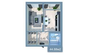 ЖК Star City: планування 1-кімнатної квартири 46.89 м²