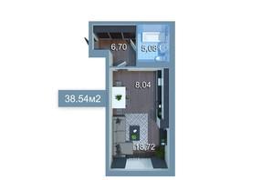 ЖК Star City: планування 1-кімнатної квартири 38.54 м²