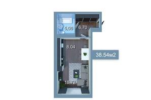 ЖК Star City: планування 1-кімнатної квартири 37.98 м²