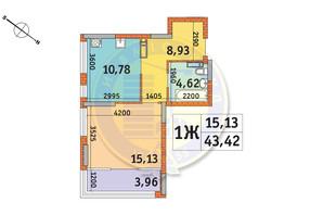 ЖК Star City: планування 1-кімнатної квартири 43.42 м²