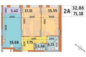 ЖК Star City: планування 2-кімнатної квартири 71.18 м²