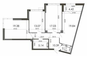 ЖК Star City: планування 3-кімнатної квартири 91.38 м²