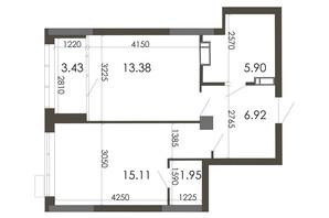 ЖК Star City: планування 1-кімнатної квартири 46.69 м²
