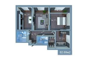 ЖК Star City: планування 3-кімнатної квартири 90.49 м²