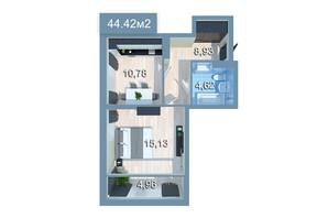ЖК Стар Сіті: планування 1-кімнатної квартири 44.42 м²