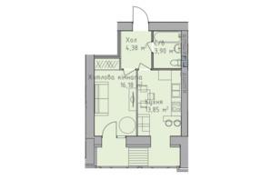 ЖК Статус 1: планування 1-кімнатної квартири 38.58 м²