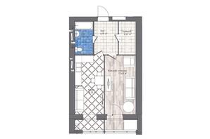 ЖК Статус 1: планування 1-кімнатної квартири 51.1 м²