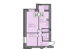 ЖК Статус 1: планировка 2-комнатной квартиры 60.24 м²