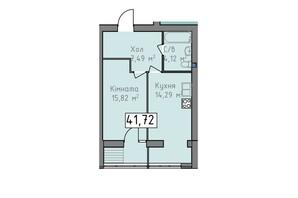 ЖК Статус 1: планировка 1-комнатной квартиры 41.72 м²