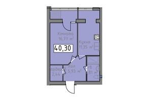 ЖК Статус 1: планировка 1-комнатной квартиры 40.3 м²