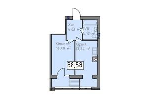 ЖК Статус 1: планировка 1-комнатной квартиры 38.58 м²