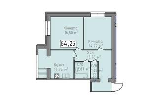 ЖК Статус 1: планировка 2-комнатной квартиры 64.25 м²