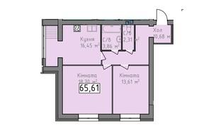 ЖК Статус 1: планировка 2-комнатной квартиры 65.61 м²