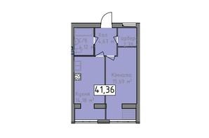 ЖК Статус 1: планировка 1-комнатной квартиры 41.36 м²