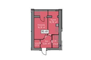 ЖК Статус 1: планировка 1-комнатной квартиры 38.48 м²