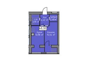 ЖК Статус 1: планировка 1-комнатной квартиры 40.32 м²